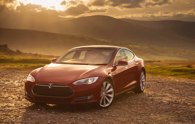 Photo wallpaper red, Tesla, Model S, P85