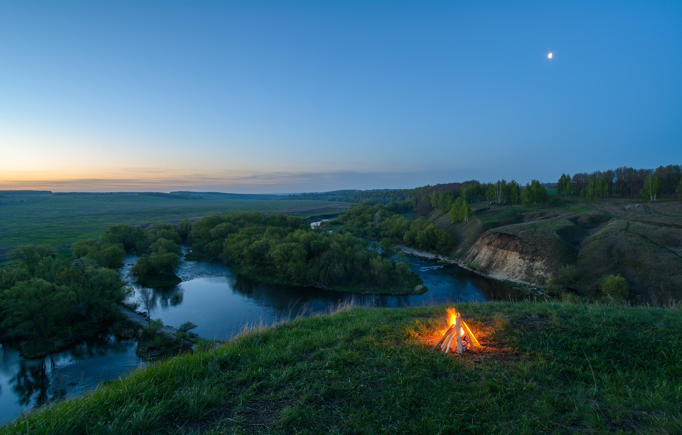 Photo wallpaper forest, river, open, panorama, the fire