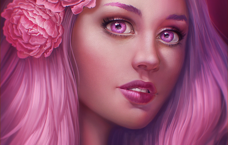 Photo wallpaper girl, flowers, face, hair, pink, art, JuneJenssen
