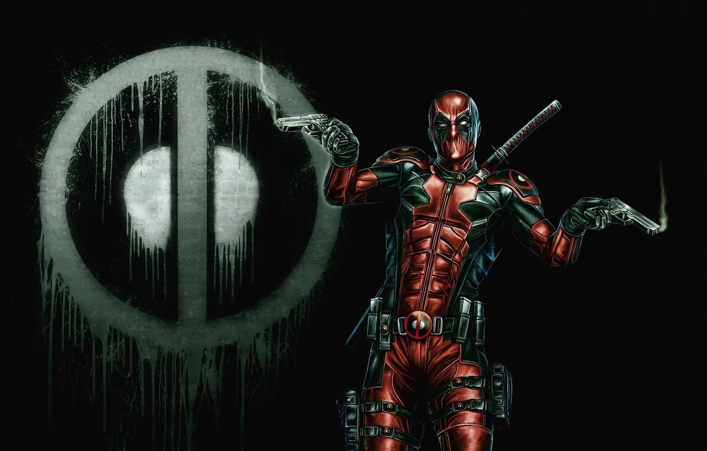 Photo wallpaper background, mask, art, costume, deadpool, guns. weapons