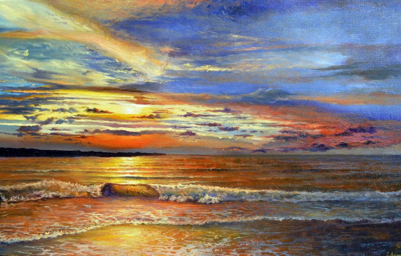 Wallpaper sea, the sky, foam, water, clouds, landscape
