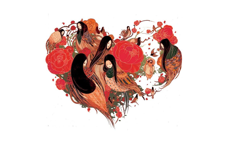 Photo wallpaper heart, Japan, japan, woman, color, hart