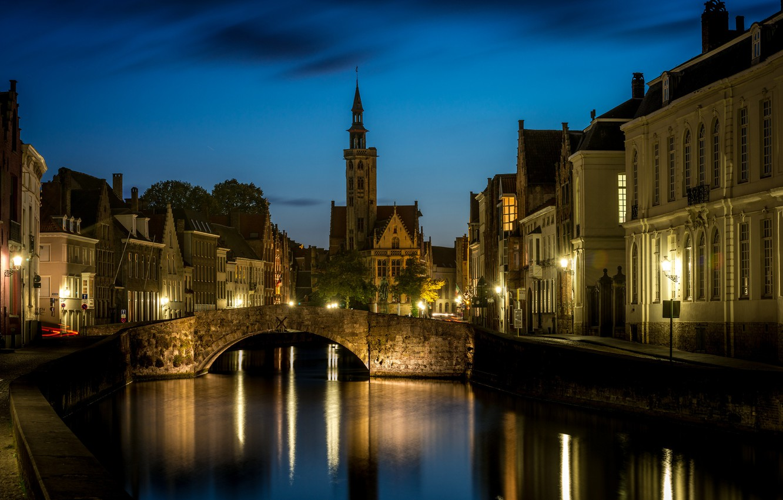 Photo wallpaper night, lights, Bruges, Saint Anna, West-Flanders