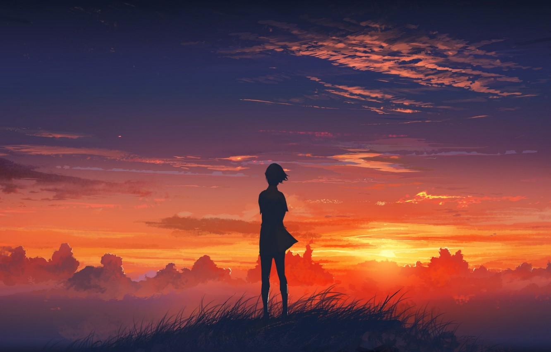 Photo wallpaper the sky, grass, girl, clouds, sunset, mountain, art, beautiful