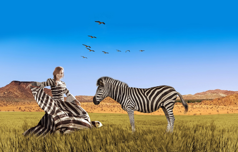 Photo wallpaper the sky, grass, girl, birds, strip, creative, photoshop, pack, plain, dress, Zebra, hairstyle, Savannah, Africa, …