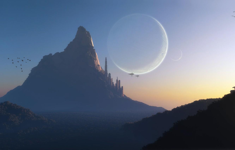 Photo wallpaper sunset, birds, the city, fog, rock, fiction, hills, transport, planet, mountain, ships, art, tower