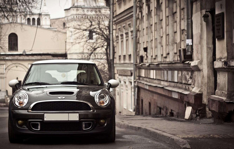Photo wallpaper Auto, The city, Autumn, Machine, Lights, Mini Cooper, Mini Cooper