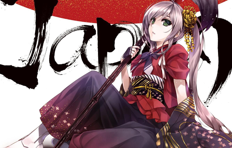 Photo wallpaper girl, the inscription, art, staff, misaki kurehito, sitting