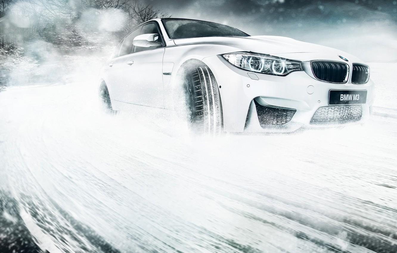 Photo wallpaper BMW, Car, Front, Snow, White, Skid
