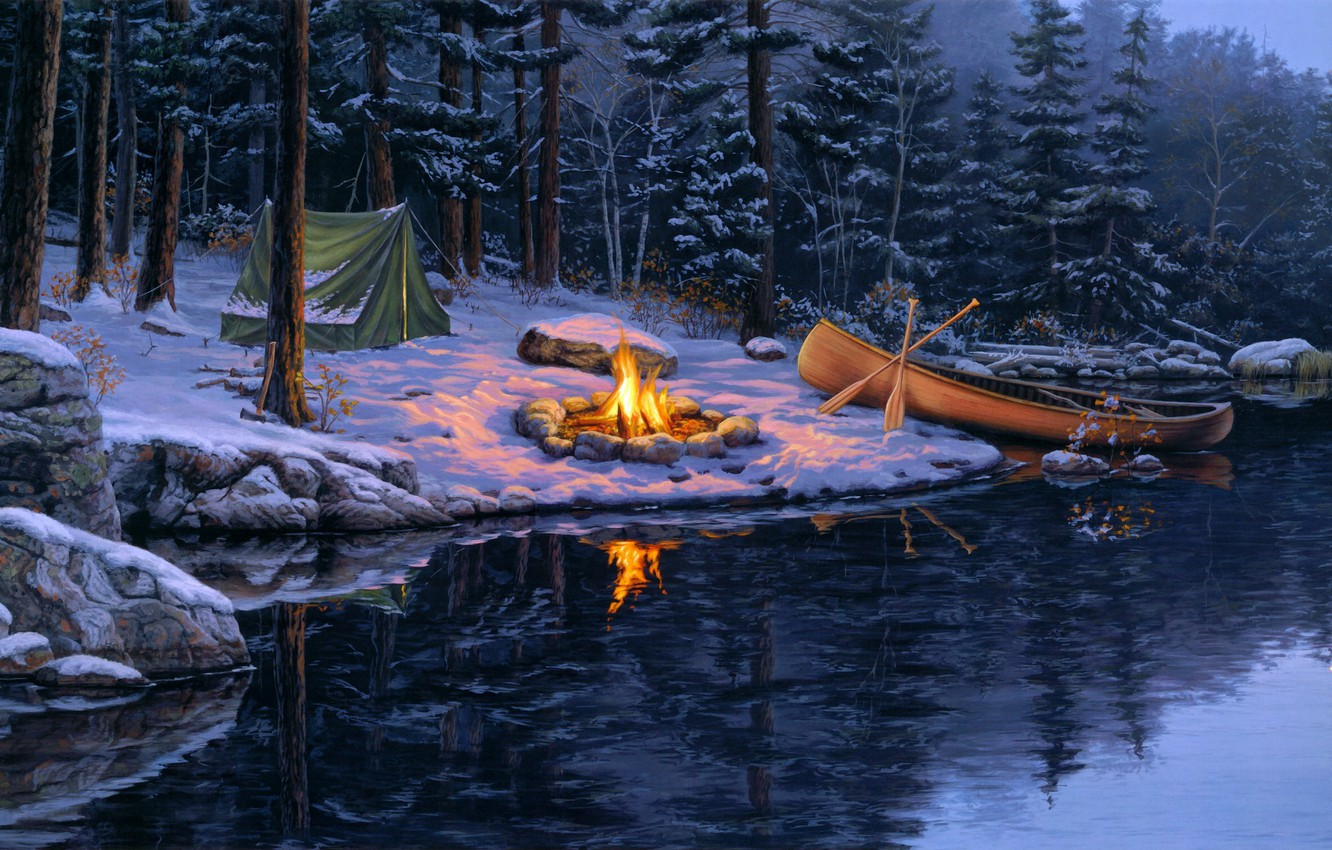 Photo wallpaper winter, forest, snow, lake, the moon, boat, spruce, the fire, tent, pine, painting, moose, Darrell …