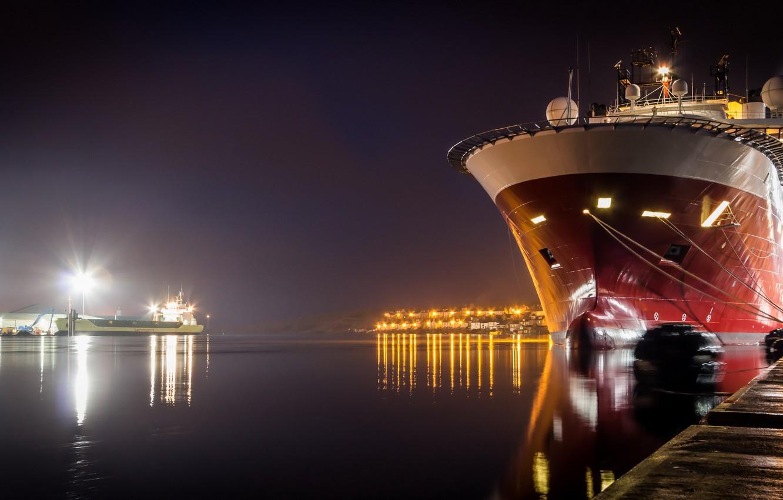 Photo wallpaper night, the city, ship, port