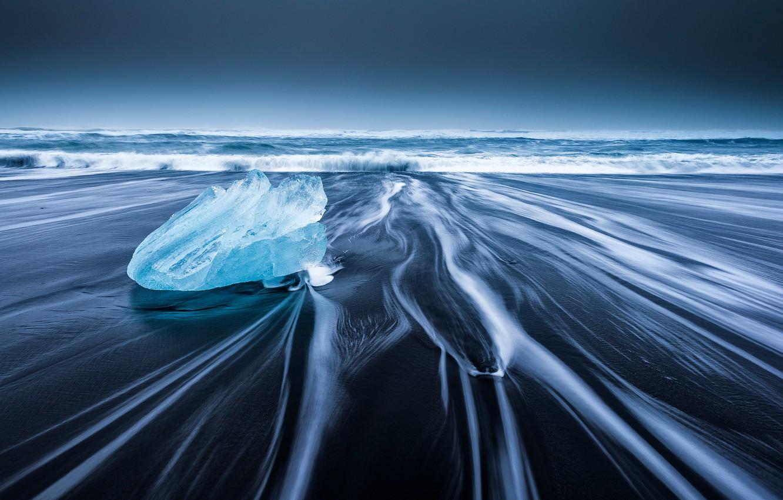 Photo wallpaper wave, beach, ice, Iceland, the glacial lagoon of Jökulsárlón