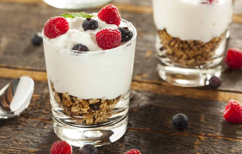 Photo wallpaper raspberry, food, blueberries, fruit, cream, dessert, fruits, cream, dessert, blueberries, raspberries