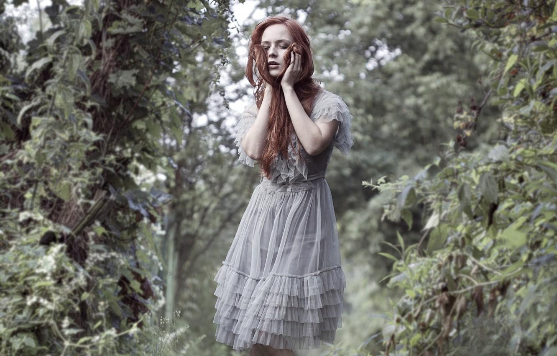 Photo wallpaper greens, girl, dress, redhead