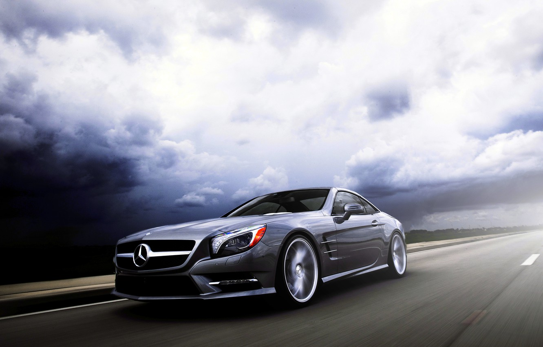 Photo wallpaper Mercedes-Benz, SL-class, silvery, SL 550, frontside