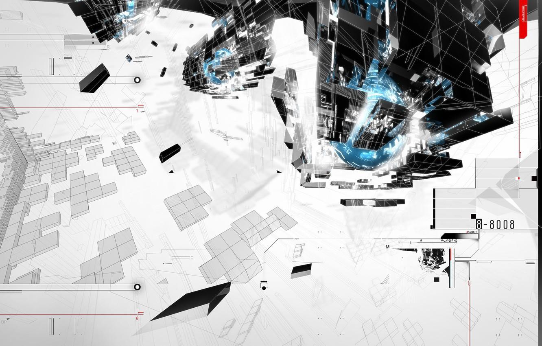 Photo wallpaper construction, planet, minimal, trance, AMPLIFIER404, cinema 4d