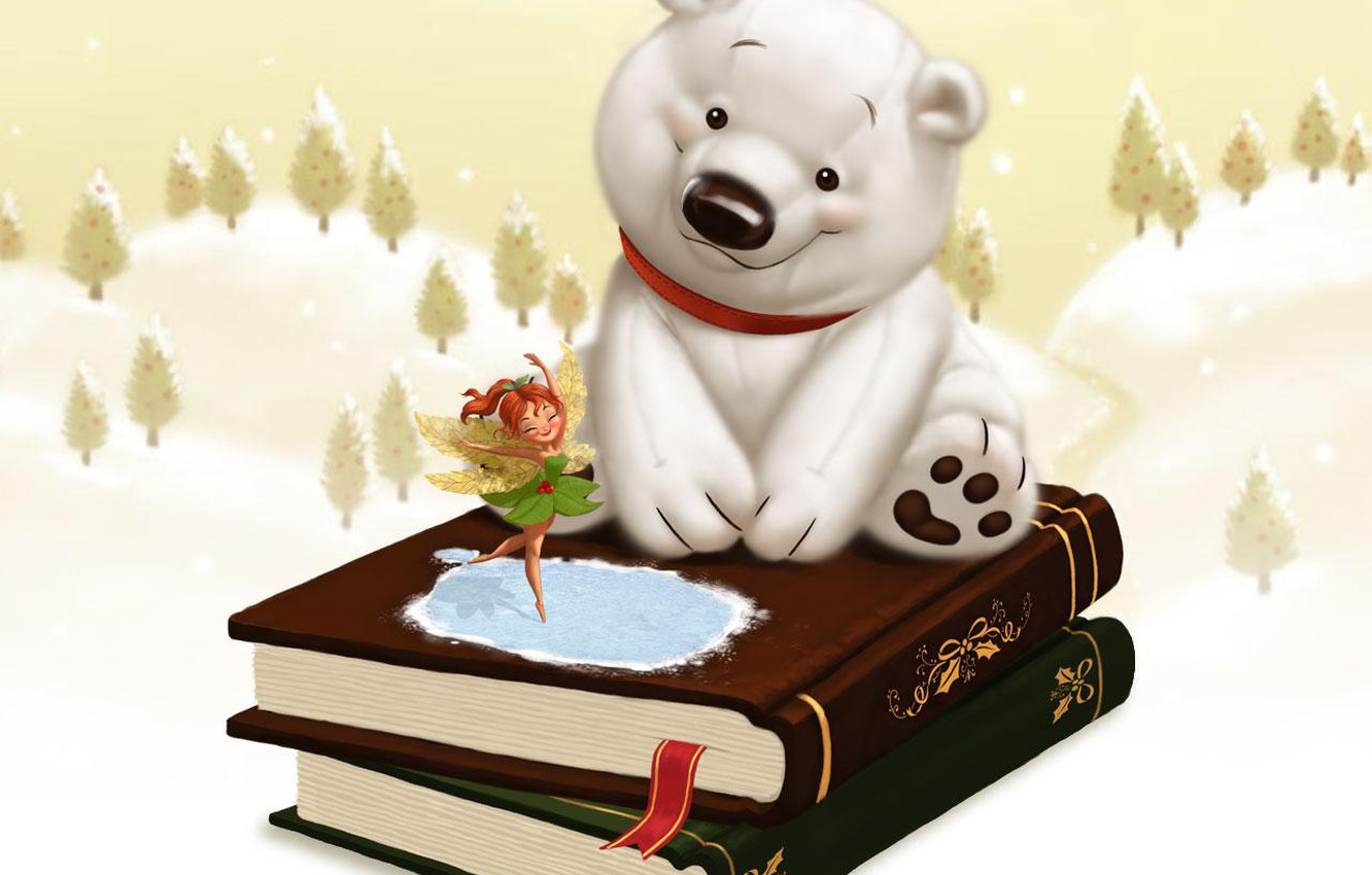 Photo wallpaper winter, snow, childhood, tale, fairy, gifts, books. white bear