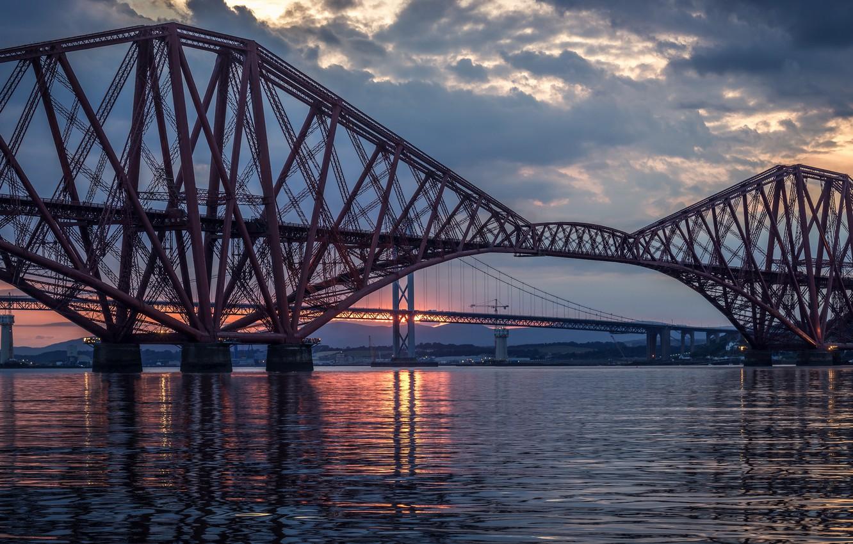 Photo wallpaper the sky, clouds, sunset, clouds, bridge, river, the evening, Scotland, UK, river, Scotland, Great Britain, …