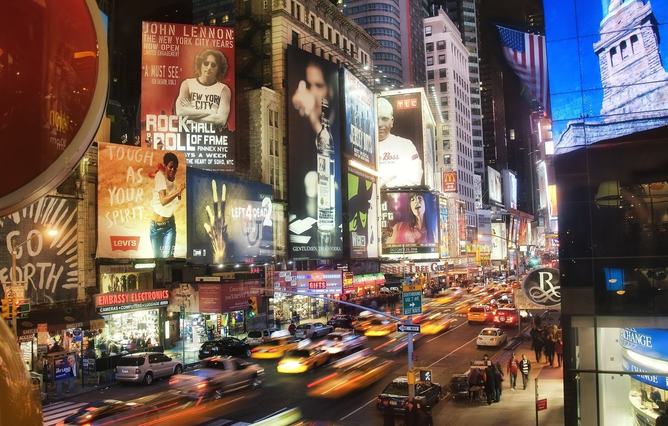 Wallpaper Lights Movement Street The Evening The City City New York Images For Desktop Section Gorod Download