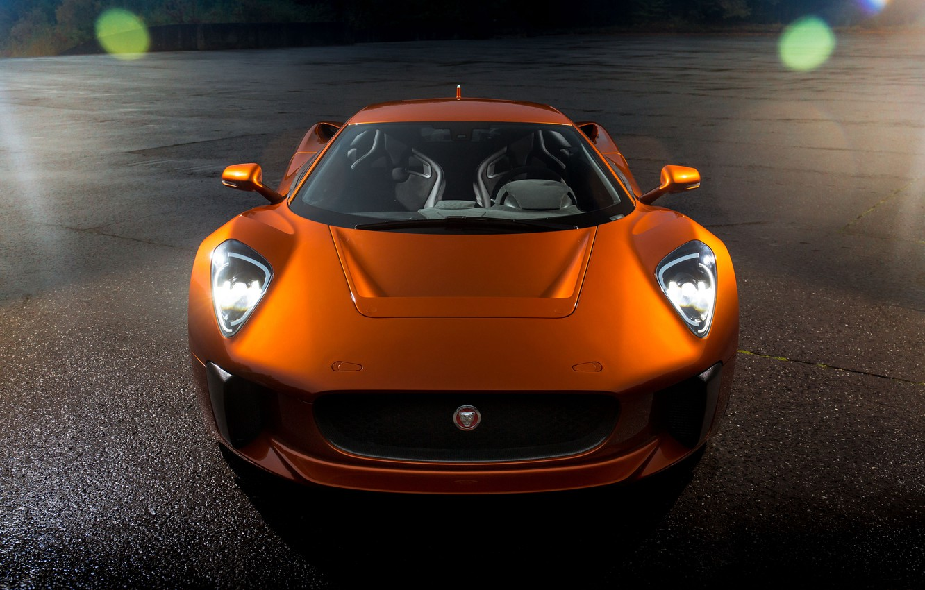 Photo wallpaper supercar, the front, orange, Jaguar C-X75