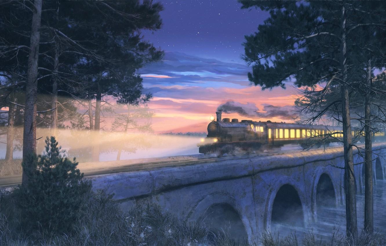 Photo wallpaper the sky, clouds, trees, sunset, nature, smoke, train, anime, art, arsenixc