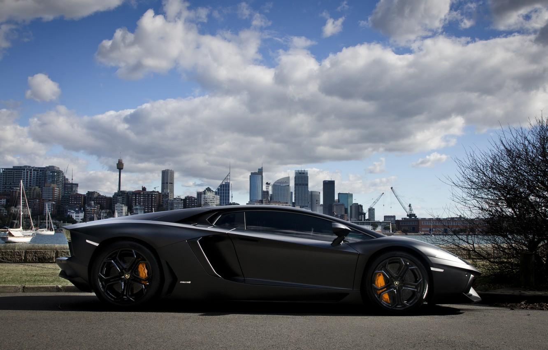 Photo wallpaper the sky, clouds, the city, shadow, profile, lamborghini, promenade, aventador, lp700-4, Lamborghini, aventador, matte black, …