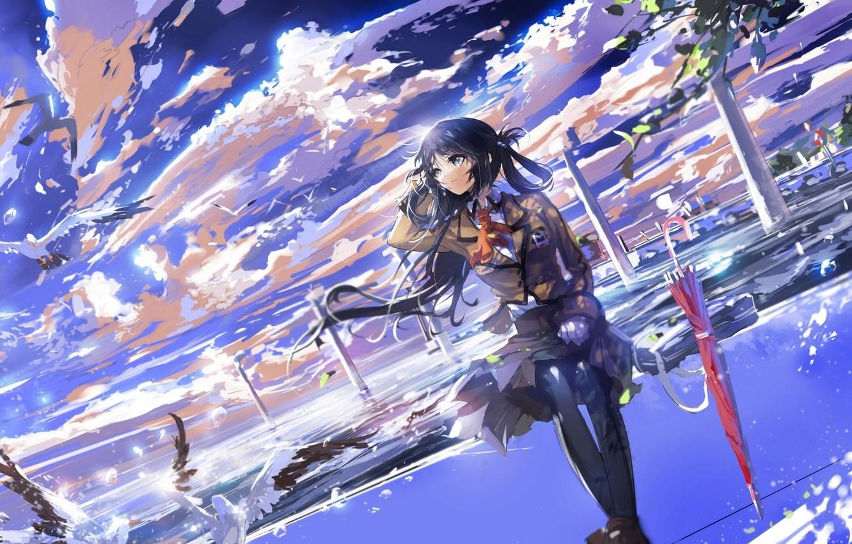 Photo wallpaper the sky, girl, clouds, birds, umbrella, anime, art, form, schoolgirl, stu dts, like no asukara, …