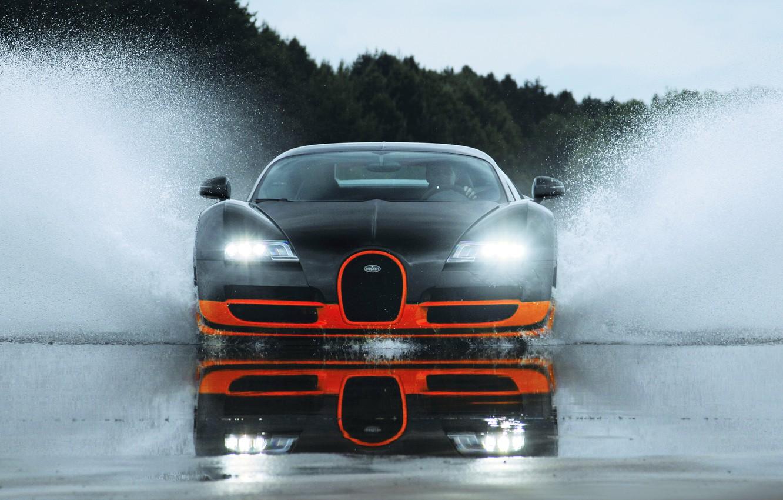 Photo wallpaper wet, water, sport, splash, veyron, sport, bugatti, wet, Bugatti, super, water, super, orange, splash, Veyron