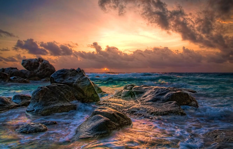 Photo wallpaper water, clouds, the ocean, sunrise, ocean, water, clouds, sunrise