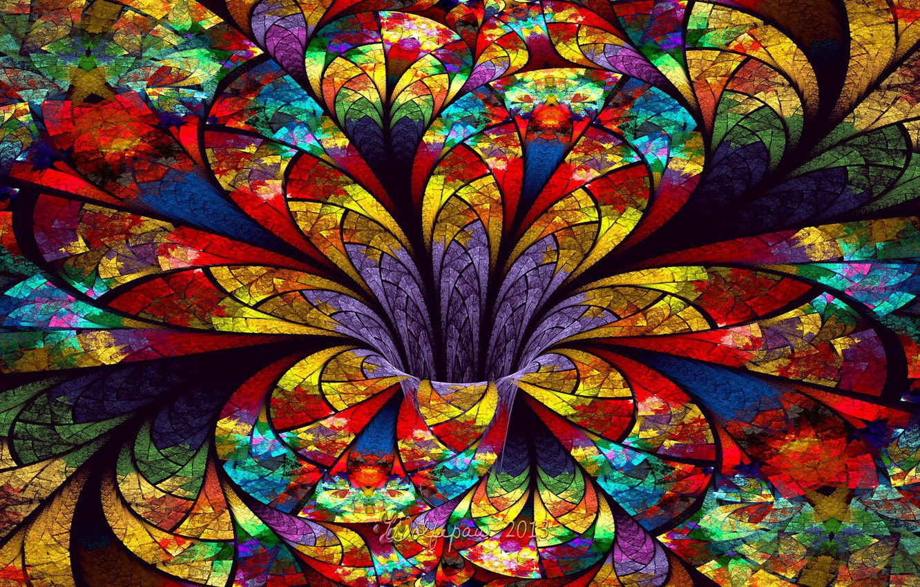 Photo wallpaper flower, glass, petals, stained glass, the volume
