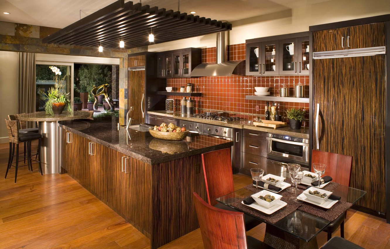 Photo wallpaper style, interior, kitchen, italian