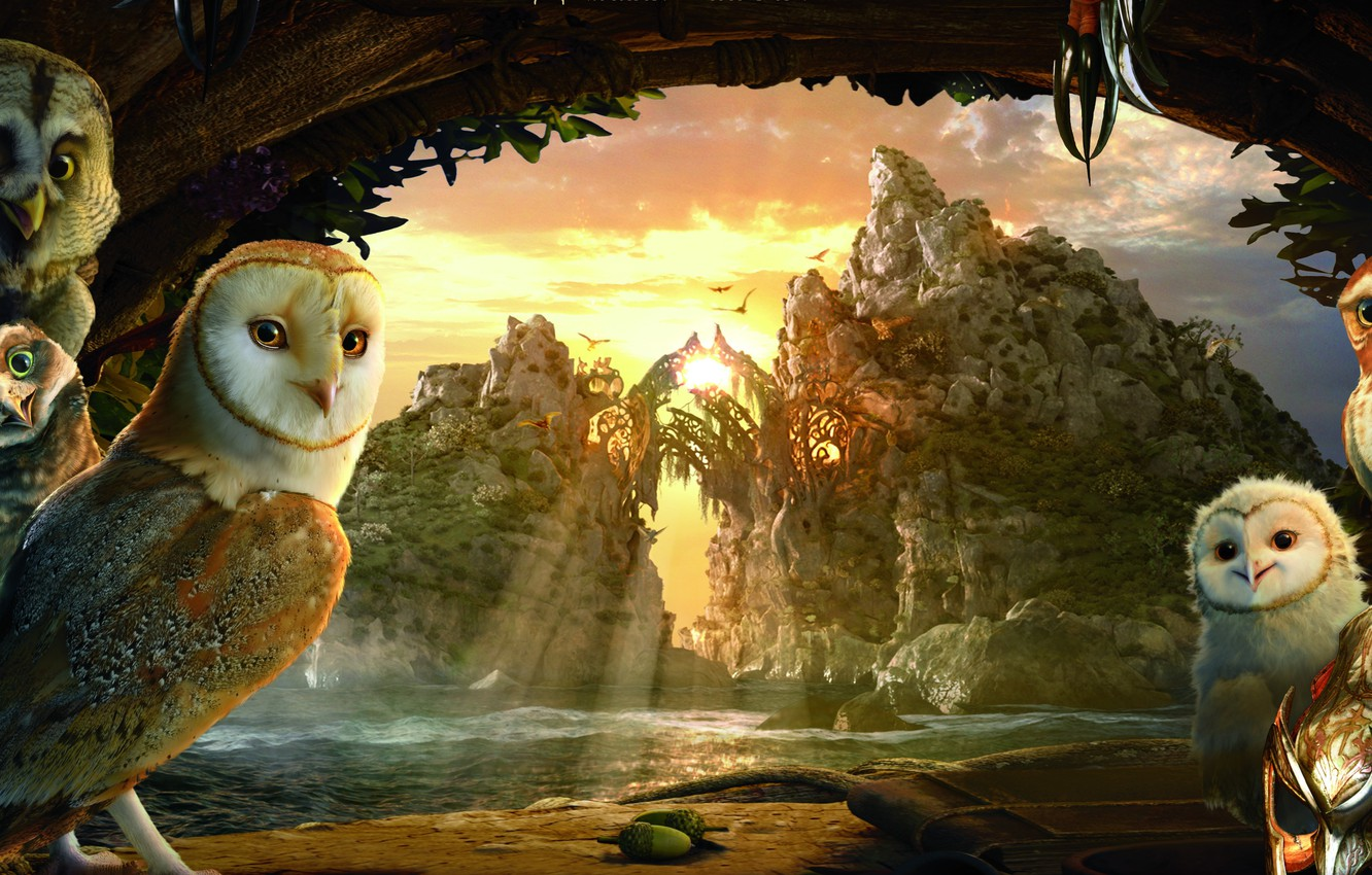 Photo wallpaper the sky, bright colors, clouds, trees, sunset, mountains, river, rocks, cartoon, the evening, mask, owls, …