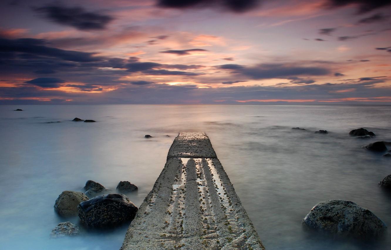 Photo wallpaper sea, the sky, clouds, sunset, clouds, stones, shore, the evening, Scotland, UK, calm