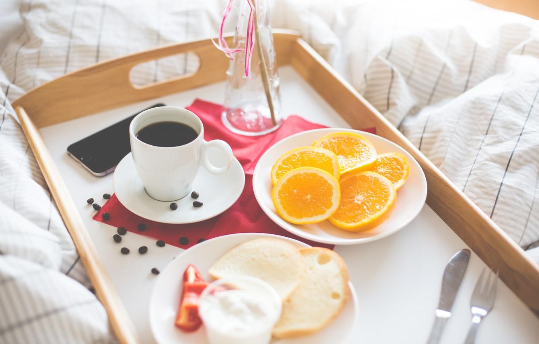 Photo wallpaper coffee, orange, Breakfast, phone, iphone, slices, tray