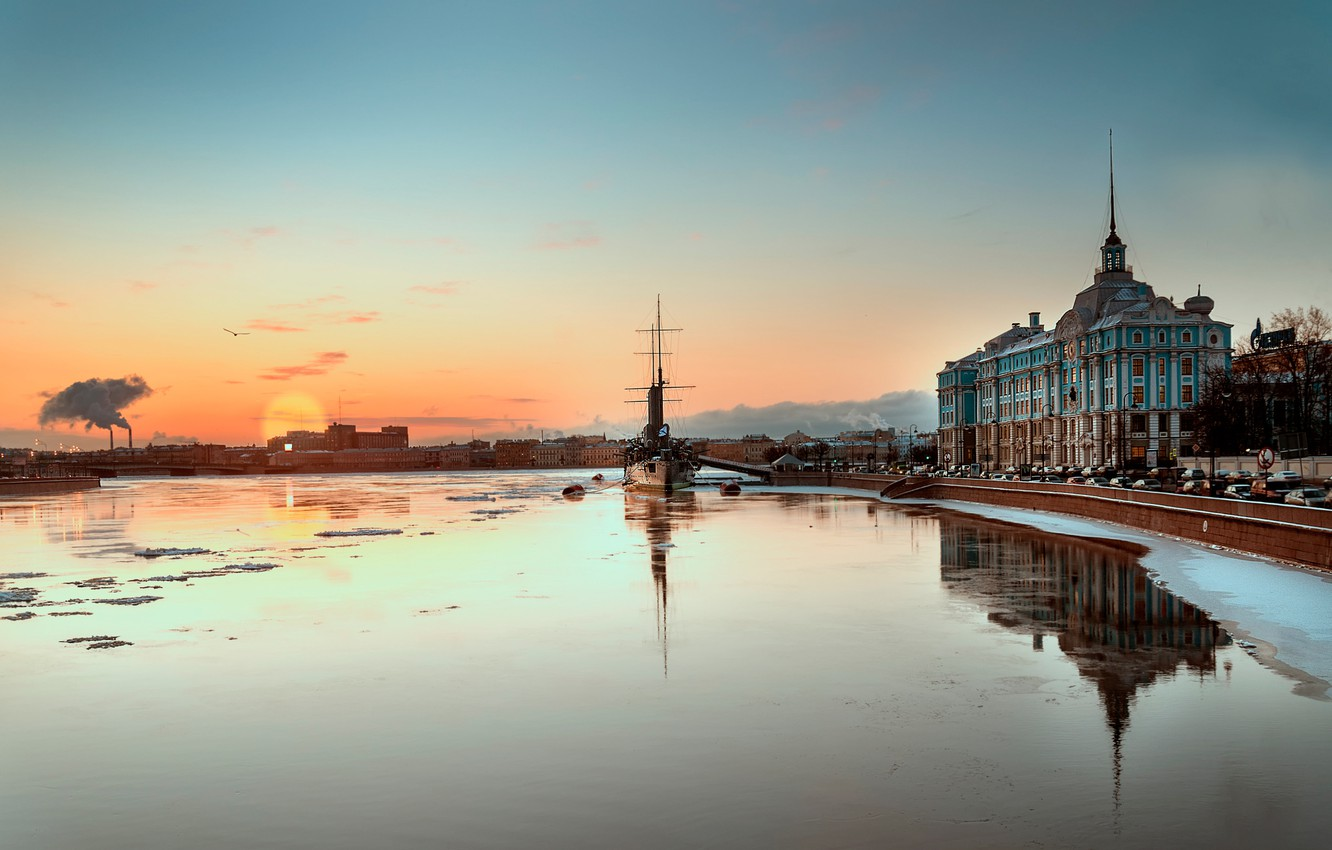Photo wallpaper morning, Saint Petersburg, Aurora, cruiser