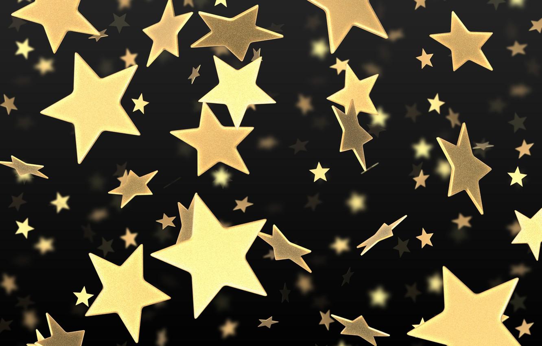 Photo wallpaper stars, gold, black, yellow