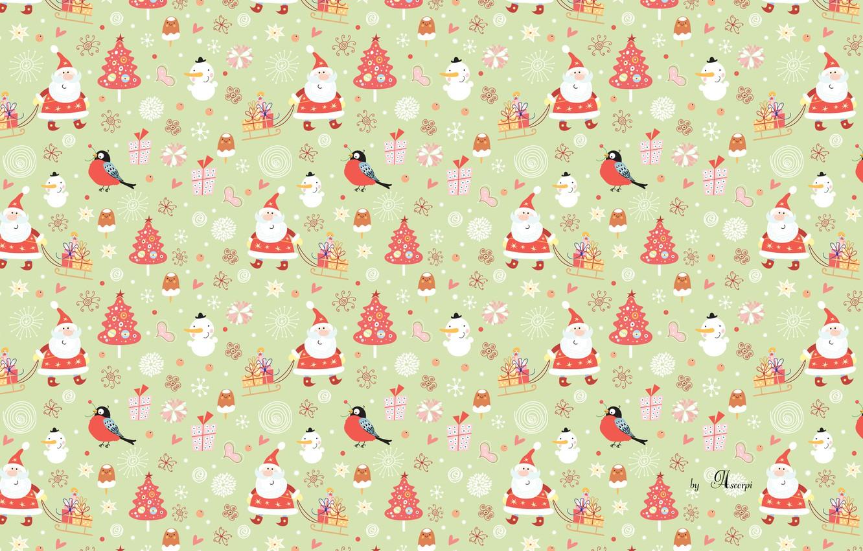Photo wallpaper new year, Christmas, snowman, Santa