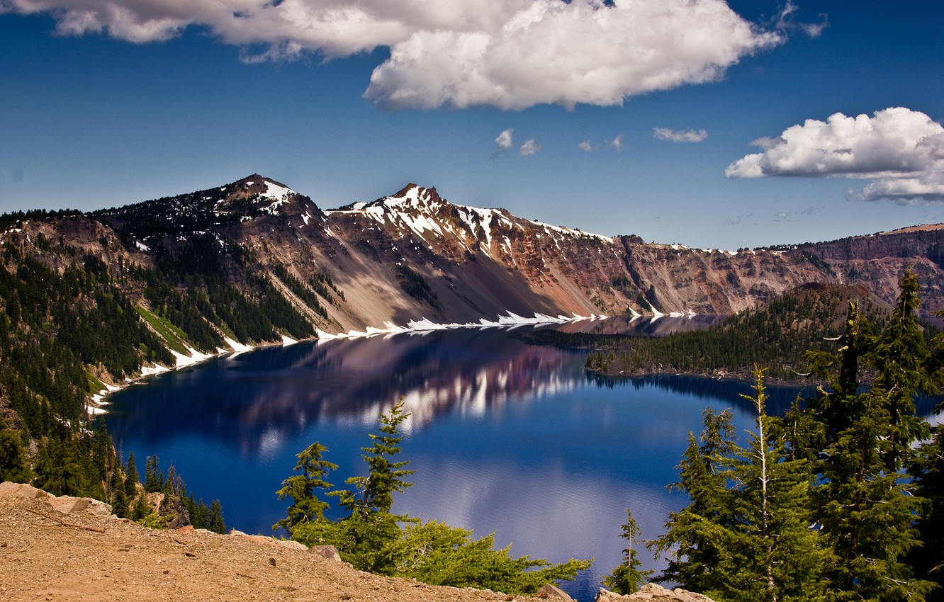 Photo wallpaper the sky, clouds, mountains, lake, crater