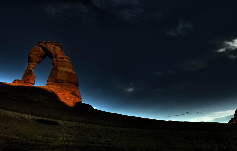 Photo wallpaper night, rock, sunrise, Arch