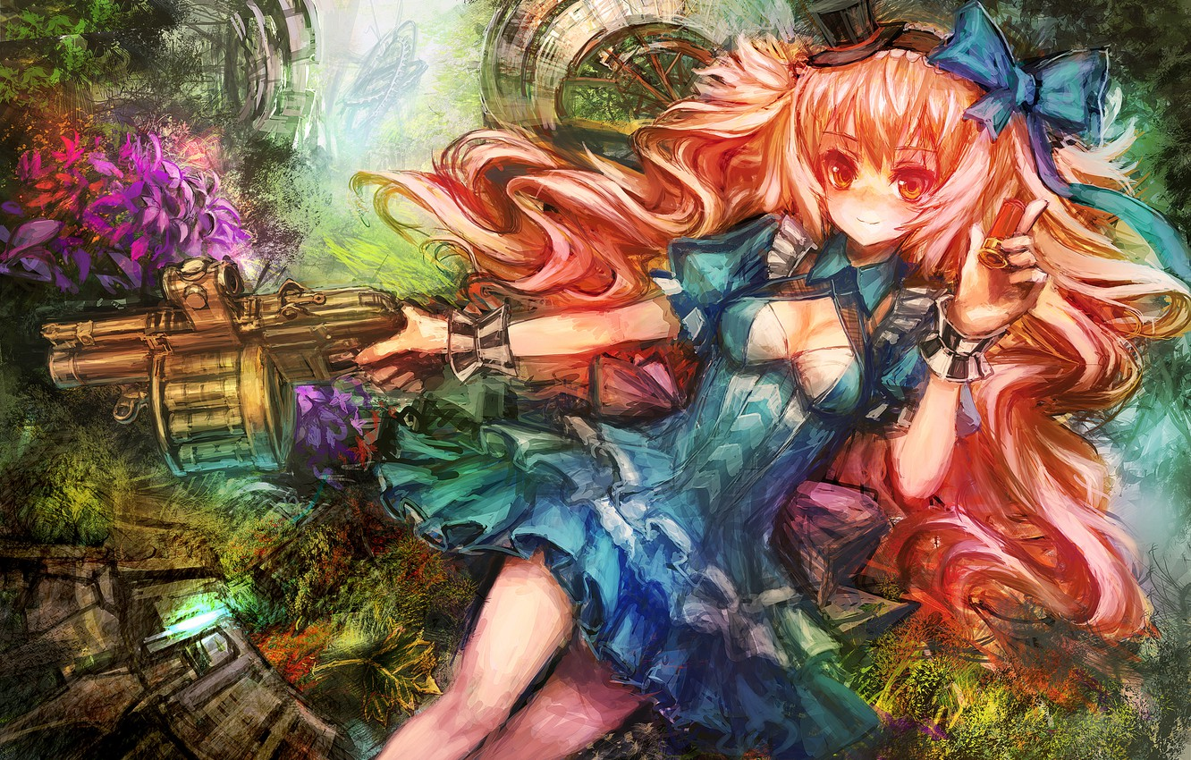 Photo wallpaper girl, weapons, hat, bow, blue dress