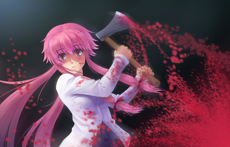 Photo wallpaper axe, madness, blood, Mirai Nikki, Future diary, Gasai Yuno, blood spatter