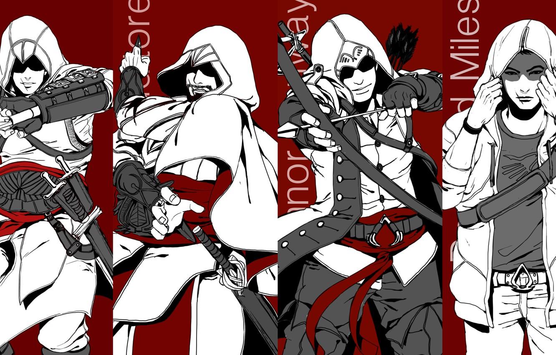 Photo wallpaper assassins creed, Altair, ezio, altair, Ezio auditore da Firenze, connor, Connor kenuey, assassins, desmond, Desmond …