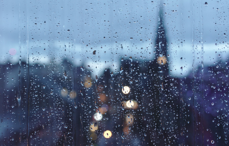 Photo wallpaper glass, drops, cityscape, raining