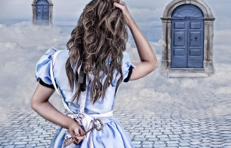 Photo wallpaper girl, fantasy, door, key