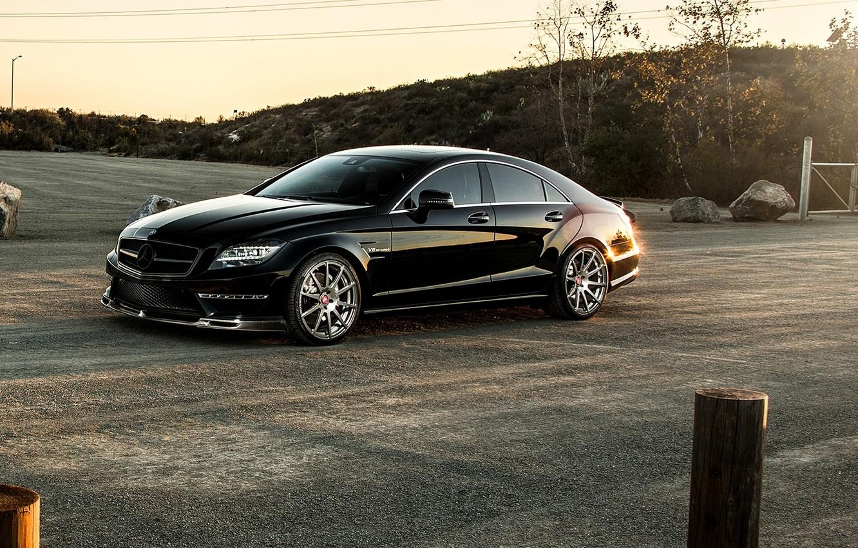 Photo wallpaper black, Mercedes-Benz, sedan, Mercedes, AMG, Black, Sedan, C218, CLS 63, 2015, CLK-Class