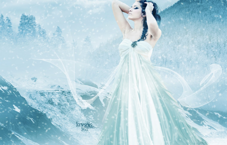 Photo wallpaper cold, winter, the sky, girl, snow, mountains, face, hair, hands, makeup, dress, art, profile, curls
