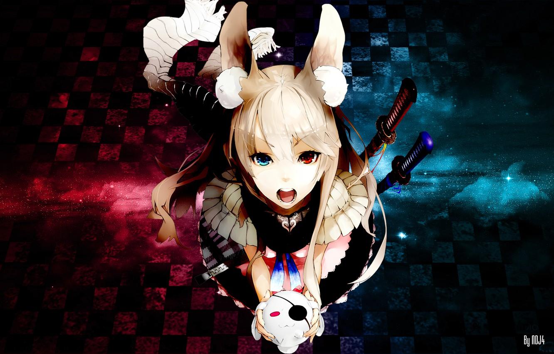 Photo wallpaper girl, sword, anime, scarf, neko, ears, anime, multi-colored eyes