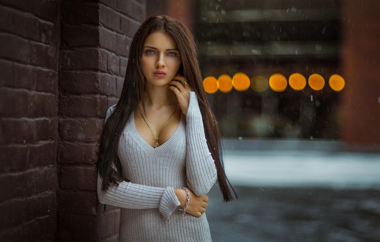 Photo wallpaper girl, snowflakes, pose, street, makeup, dress, hairstyle, brown hair, bokeh, Mikhail Gerasimov, Mikhail Gerasimov