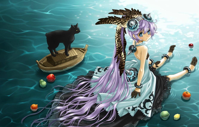 Photo wallpaper water, feathers, girl, fruit, sitting, long hair, headdress, black cat, sideways