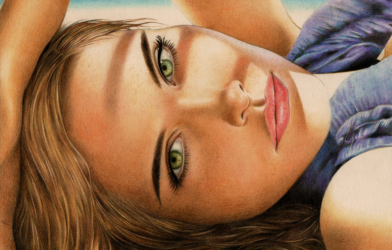 Photo wallpaper look, girl, face, hair, hand, painting, green eyes, Isabel Lucas